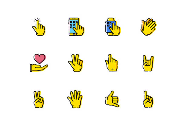 16 Gesture Icons
