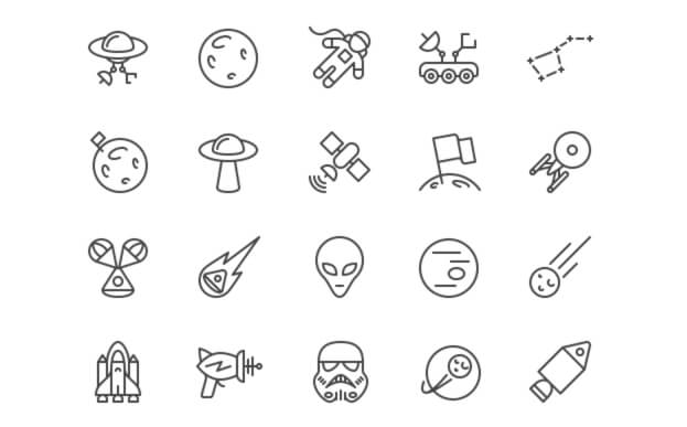 PixelLove: Space iOS Line Icons