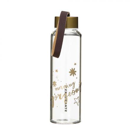 ホリデー2017レザーストラップグラスウォーターボトル